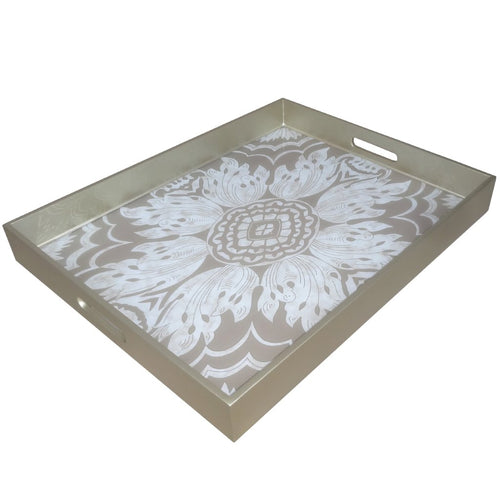 Handmade Reverse Painted Mirror Tray with Handles in Sand and Silver Floral - Extra Large - Arcadia Home