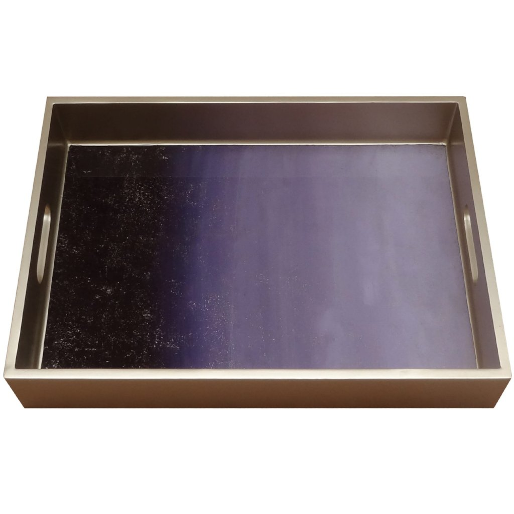 Handmade Reverse Painted Mirror Tray with Handles in Purple Ombre - Medium - Arcadia Home