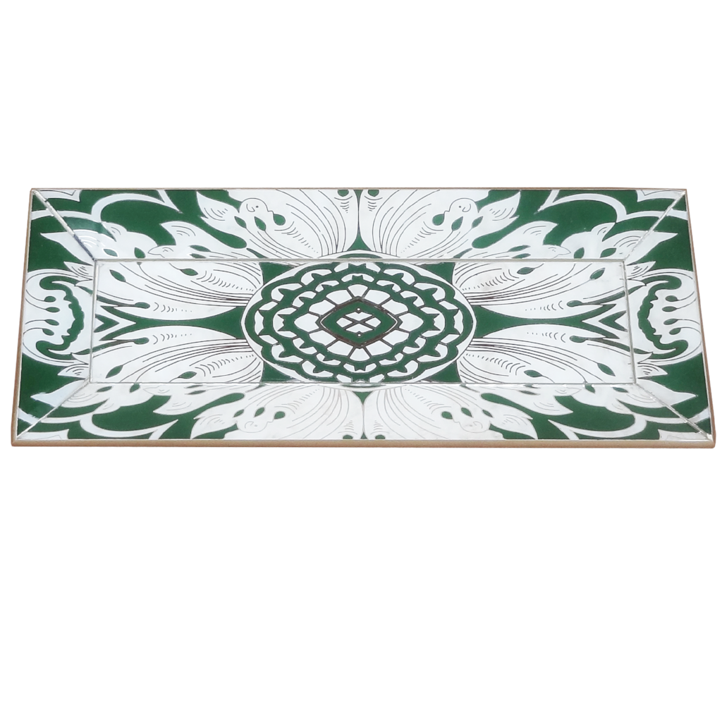 Handmade Reverse Painted Mirror Tray with Beveled Edge in Pine Green - Small - Arcadia Home