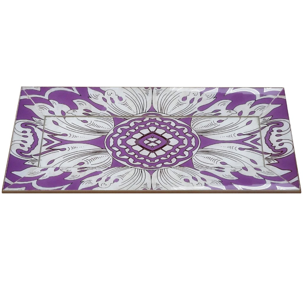 Handmade Reverse Painted Mirror Tray with Beveled Edge in Lavender - Small - Arcadia Home
