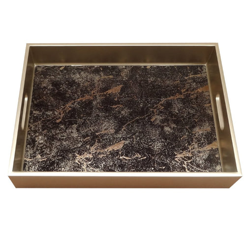 Handmade Reverse Painted Mirror Tray with Handles in Black and Gold Marble - Medium - Arcadia Home
