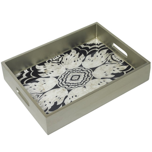 Handmade Reverse Painted Mirror Tray with Handles in Midnight - Medium - Arcadia Home