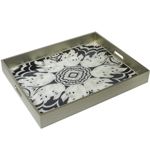 Handmade Reverse Painted Mirror Tray with Handles in Midnight - Extra Large - Arcadia Home