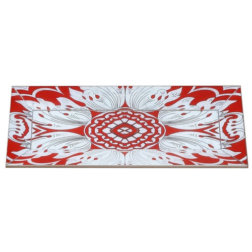 Handmade Reverse Painted Mirror Tray with Beveled Edge in Tomato - Small - Arcadia Home