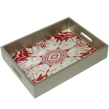 Handmade Reverse Painted Mirror Tray with Handles in Tomato - Medium - Arcadia Home