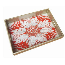 Handmade Reverse Painted Mirror Tray with Handles in Red - Medium