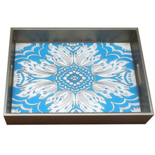 Handmade Reverse Painted Mirror Tray with Handles in Sky Blue - Medium - Arcadia Home