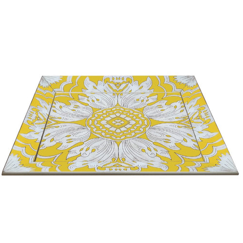 Handmade Reverse Painted Mirror Tray with Beveled Edge in Yellow - Large - Arcadia Home