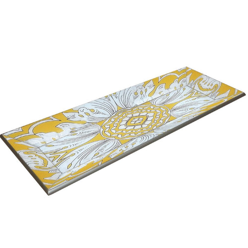 Handmade Reverse Painted Mirror Tray with Beveled Edge in Yellow - Small - Arcadia Home