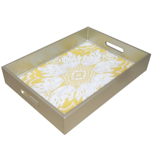 Handmade Reverse Painted Mirror Tray with Handles in Yellow - Medium - Arcadia Home