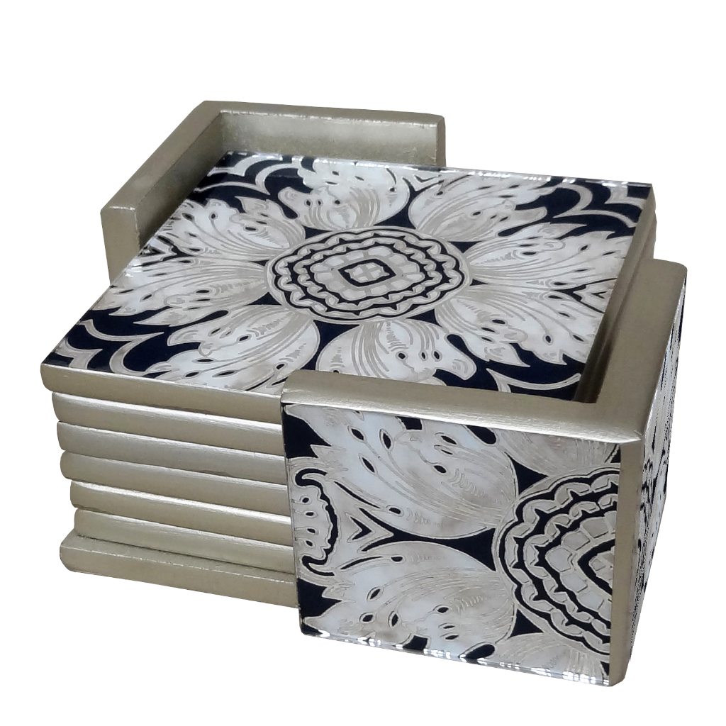Hand Painted Coasters - Set of Six in Midnight Floral - Arcadia Home