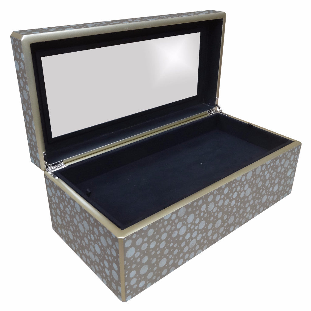 Reverse Painted Mirror Box - Large - in Sand Dots Design - Arcadia Home