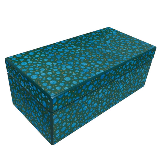 Handmade Reverse Painted Mirror Rectangular Box in Blue and Green Bubbles
