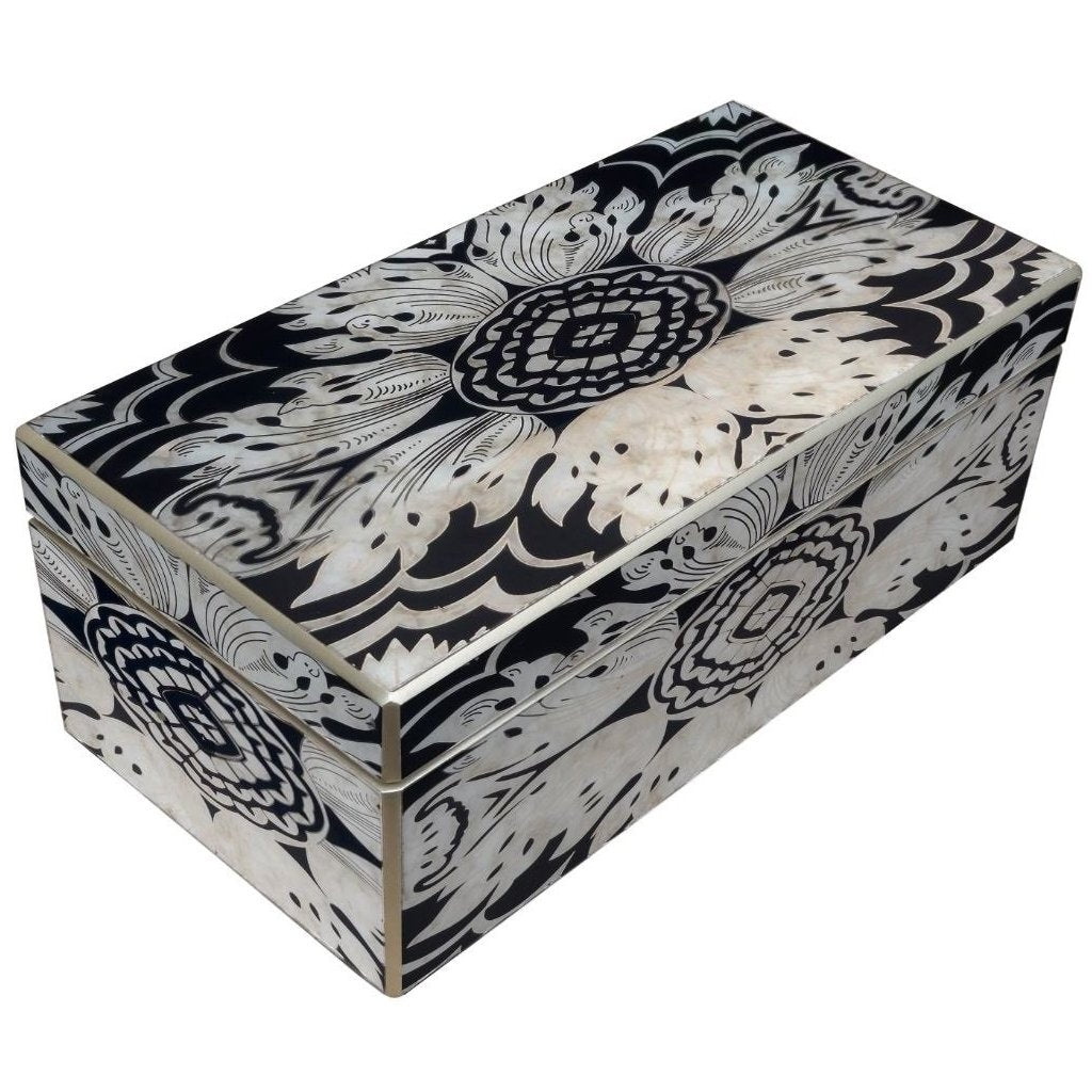 Handmade Reverse Painted Mirror Rectangular Box in Midnight