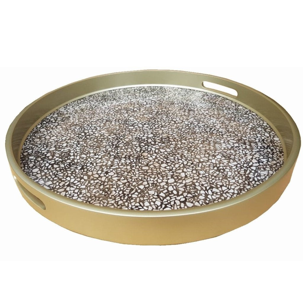 Handmade Reverse Painted Mirror Round Tray in Terrazzo - Arcadia Home