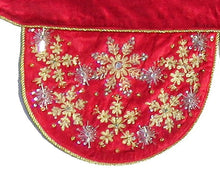 Red Velvet Mantel Scarf with Hand Beading and Crewel Embroidery - 72""