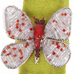 Set of Four Butterfly Napkin Rings in Silver and Red - Arcadia Home