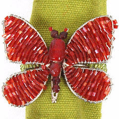 Set of Four Butterfly Napkin Rings in Red and Orange - Arcadia Home