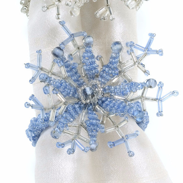 Delicate Snowflake Napkin Rings in Light Blue- Set of 4 - Arcadia Home