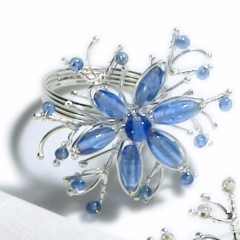 Twisted Flower Napkin Rings in Blue - Set of 4 - Arcadia Home