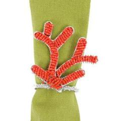 Hand Beaded Coral Napkin Rings - Arcadia Home