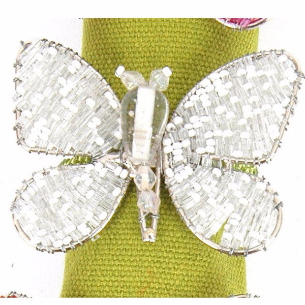 Set of Four Butterfly Napkin Rings in Silver and White - Arcadia Home