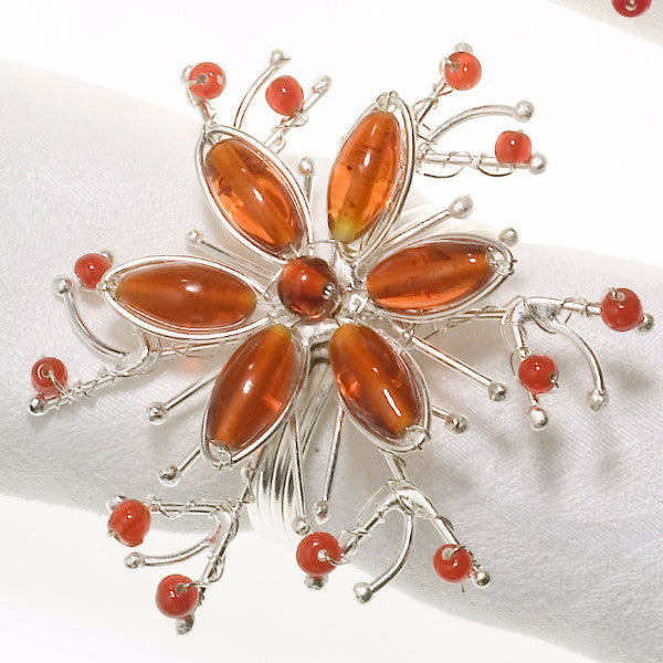 Twisted Flower Napkin Rings in Orange - Set of 4 - Arcadia Home