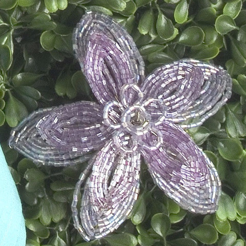 Set of Six Flat Beaded Flower Napkin Rings in Purple Glass Beads