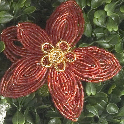 Flat Beaded Flower Napkin Ring in Red and Gold - Arcadia Home