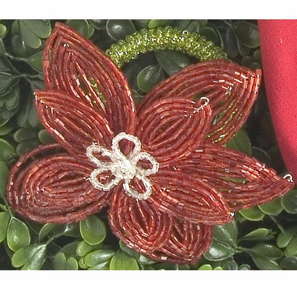 Set of Six Flat Beaded Flower Napkin Rings in Red with Silver - Arcadia Home