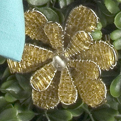 Daisy Napkin Ring in Gold Glass Beads - Set of 4 - Arcadia Home
