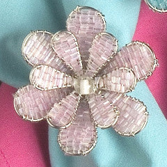 Daisy Napkin Ring in Pink - Set of 4 - Arcadia Home
