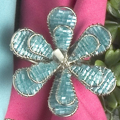Daisy Napkin Rings in Turquoise - Set of 6 - Arcadia Home