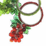 Set of Six Grape Napkin Rings in Red - Arcadia Home