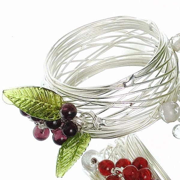 Set of Six Grape Napkin Rings in Burgundy on Silver Plated Wire - Arcadia Home