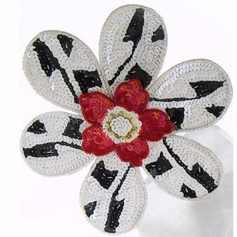 Set of Four BIG FLOWER! Napkin Rings in Black and White with Red Center - Arcadia Home