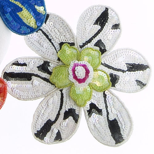 Set of Four BIG FLOWER! Napkin Rings with Green Center - Arcadia Home