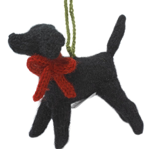Hand Knit Alpaca Wool Christmas Ornament - Black Lab Dog