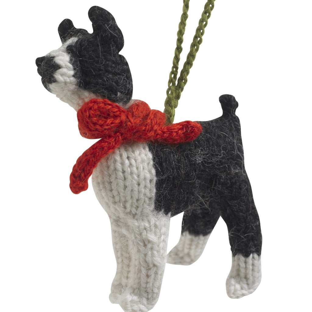 Hand Knit Alpaca Wool Christmas Ornament - Boston Terrier Dog