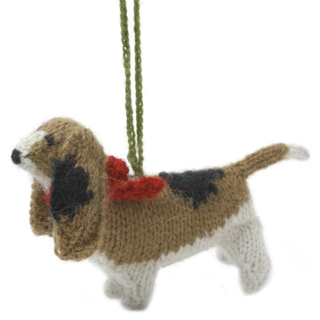 Hand Knit Alpaca Wool Christmas Ornament - Basset Hound Dog - Arcadia Home