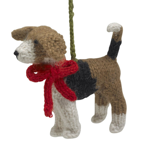 Hand Knit Alpaca Wool Christmas Ornament - Beagle Dog