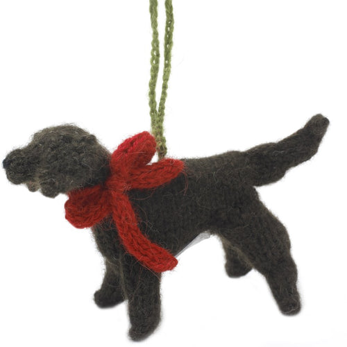 Hand Knit Alpaca Wool Christmas Ornament - Chocolate Lab Dog