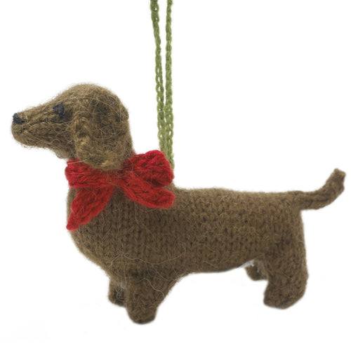 Hand Knit Alpaca Wool Christmas Ornament - Short Haired Dachshund Dog
