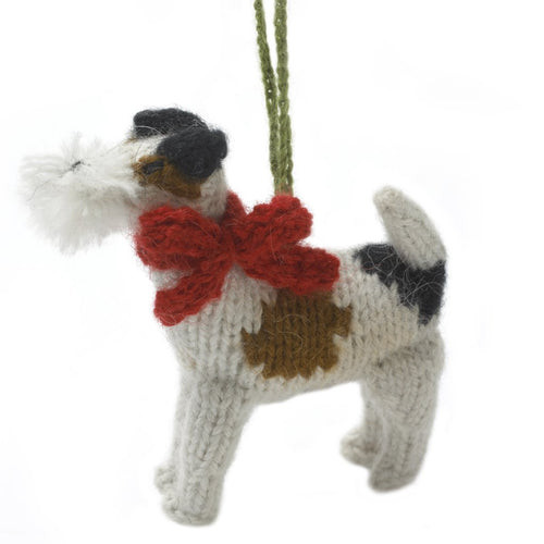 Hand Knit Alpaca Wool Christmas Ornament - Fox Terrier Dog