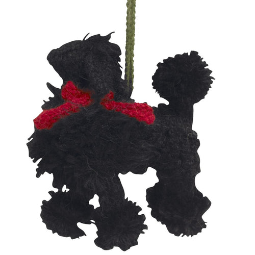 Hand Knit Alpaca Wool Christmas Ornament - Black Poodle Dog
