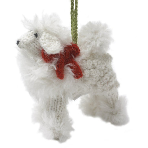 Hand Knit Alpaca Wool Christmas Ornament - White Poodle Dog