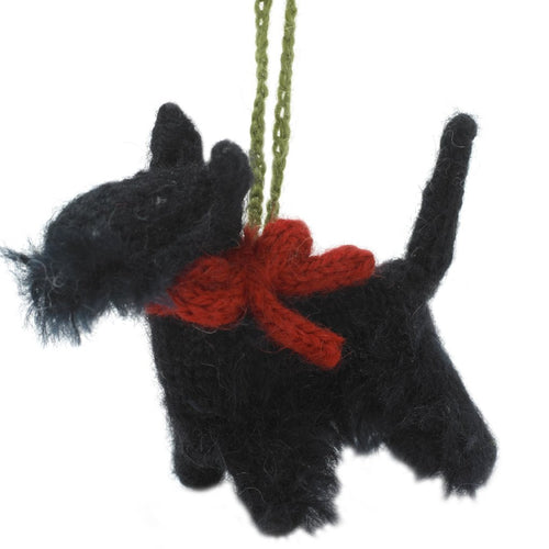 Hand Knit Alpaca Wool Christmas Ornament - Scottie Dog