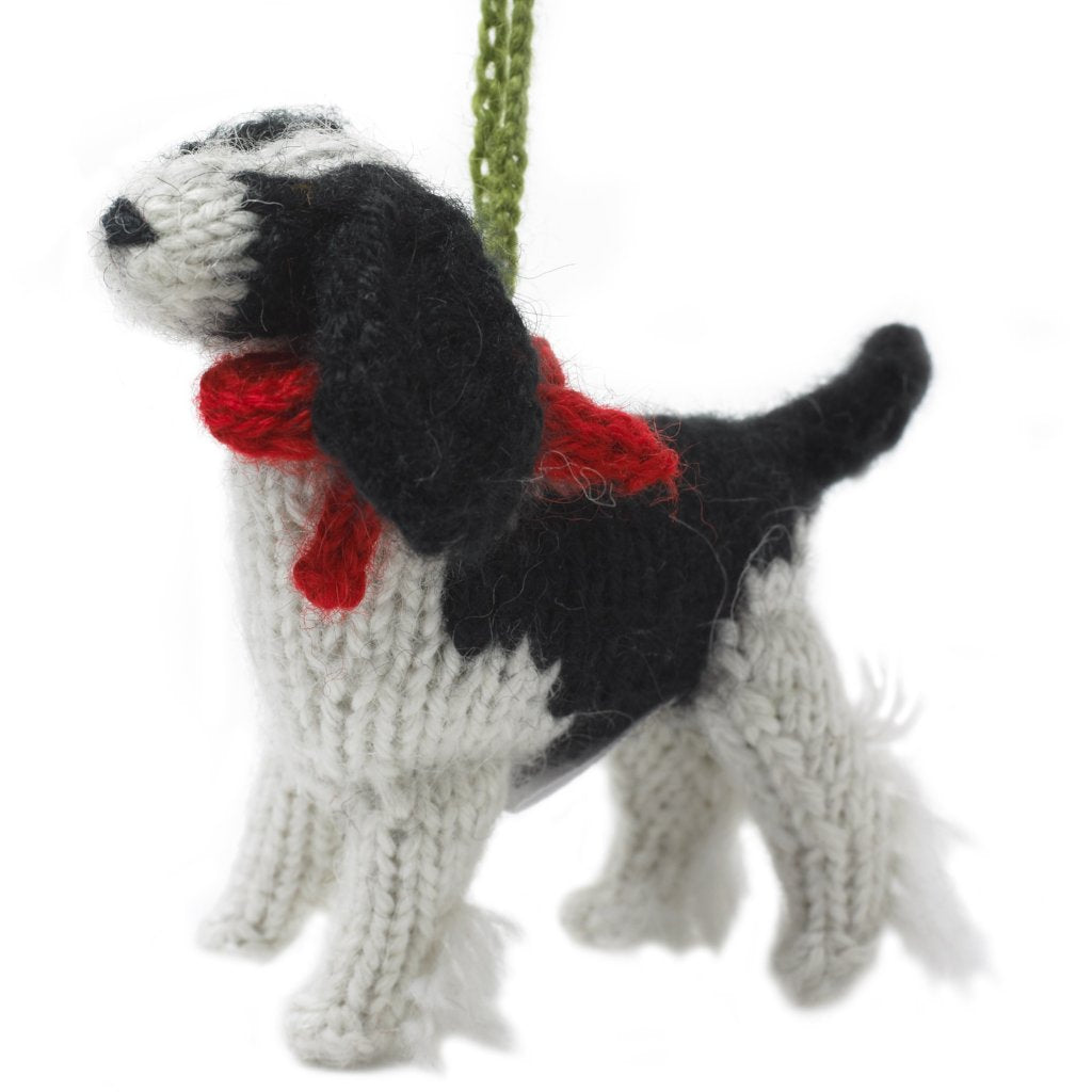 Hand Knit Alpaca Wool Christmas Ornament - Spaniel Dog - Arcadia Home