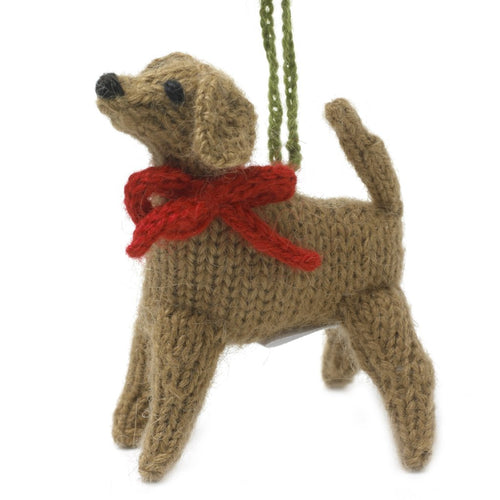Hand Knit Alpaca Wool Christmas Ornament - Yellow Lab Dog