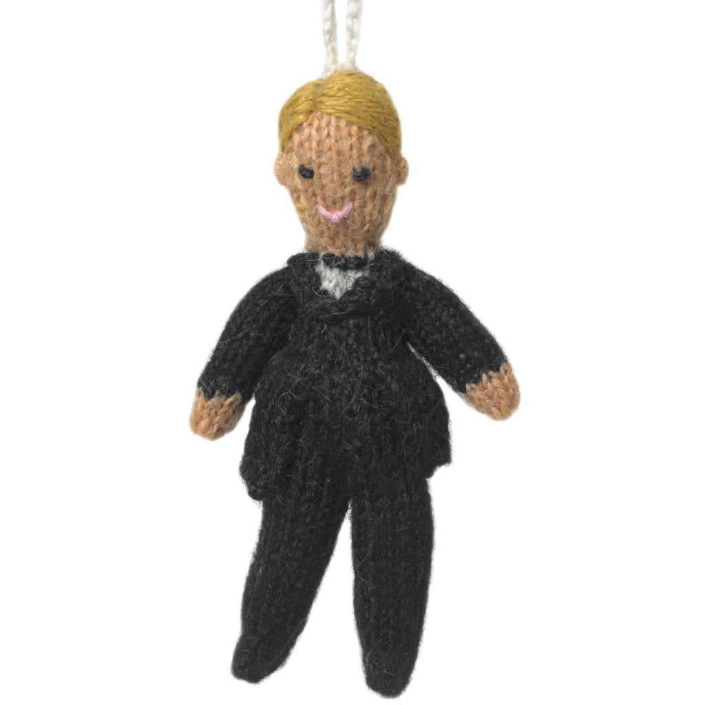 Hand Knit Wedding Ornament - Blonde Groom - Arcadia Home